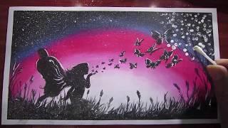 Vẽ tranh cô gái với đôi cánh bướm bằng sáp dầu và tăm bông