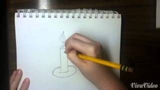 How to draw a candle with a flame - easy