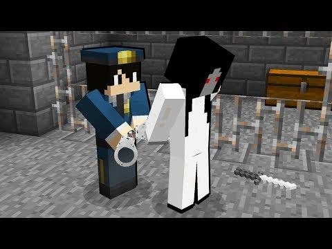 Коп арестовал Слендерину в Майнкрафт! Нуб Слендермен и Slenderina в Minecraft Сериал!