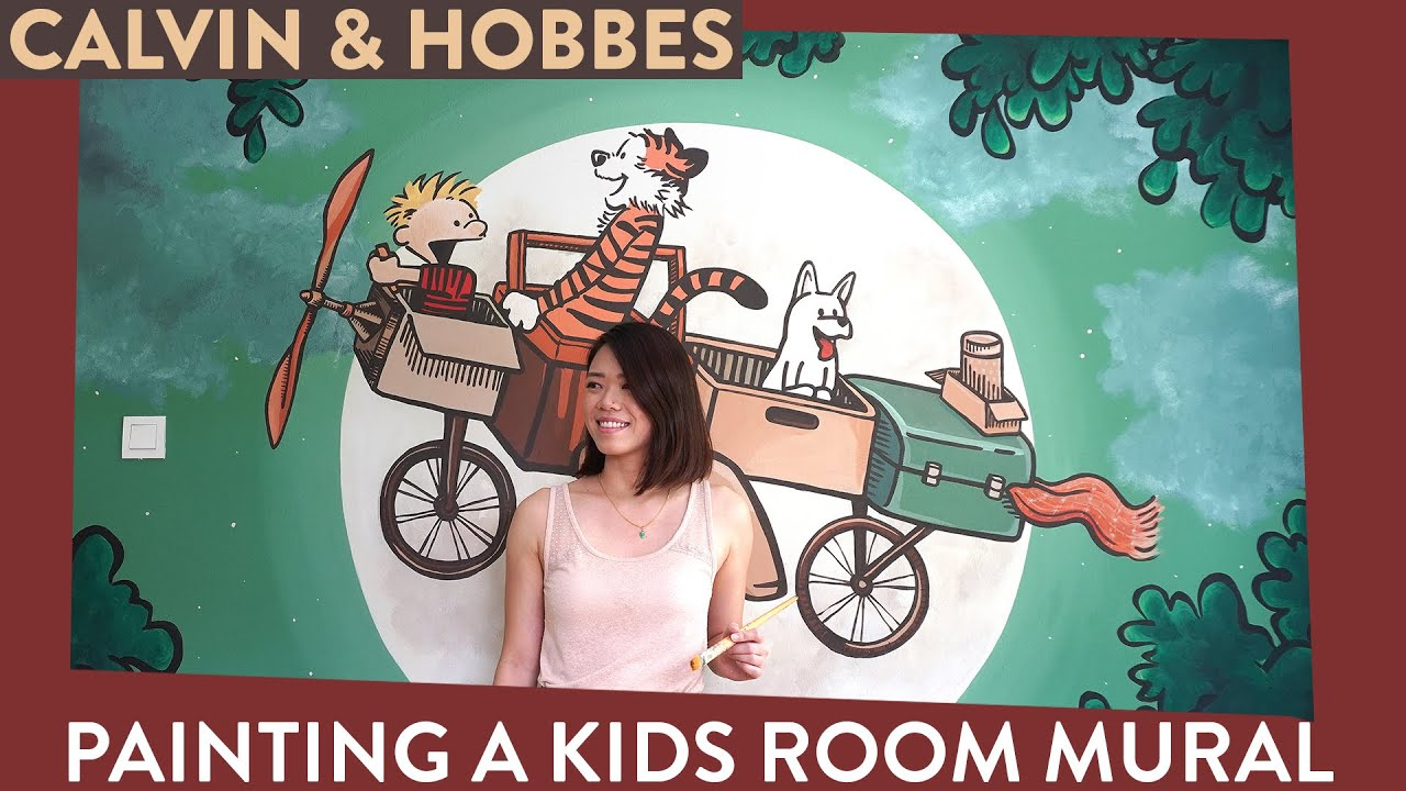 Calvin Hobbes Kids Room Mural How To Design Paint Artsy Daphy Youtube