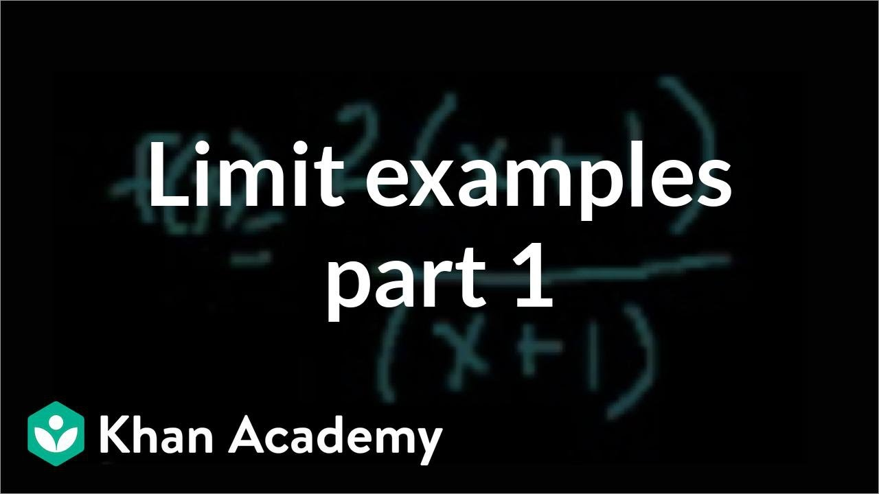 Limit examples (part 1) | Limits | Differential Calculus | Khan Academy