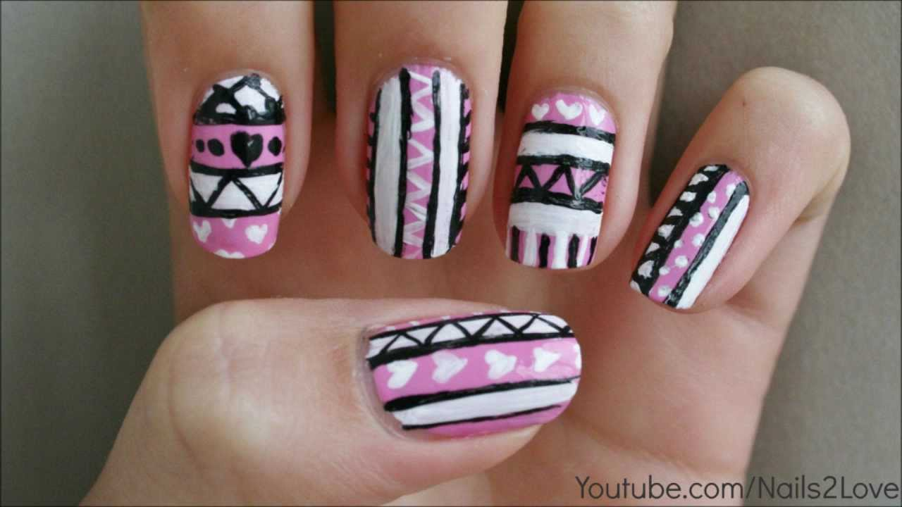 Pink hearts tribal aztec nail art tutorial youtube prinsesfo Image collections