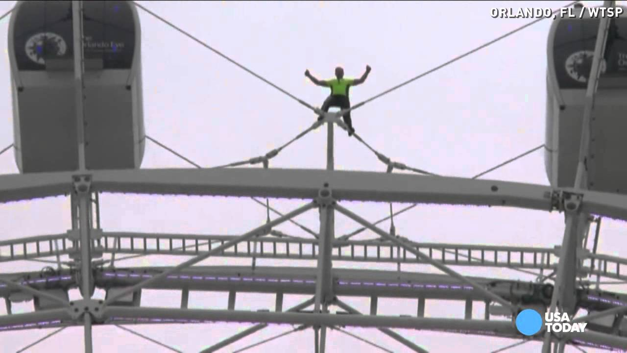 Timelapse Nik Wallenda Walks Spinning Orlando Eye YouTube - Nik wallendas epic blindfolded skyscraper tightrope walk