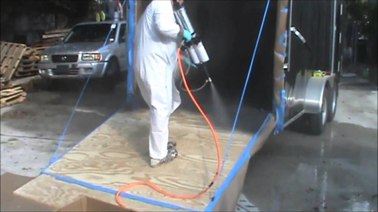 Bed Liner Spray Paint >> RockHard Bedliner on Trailer Floor - YouTube
