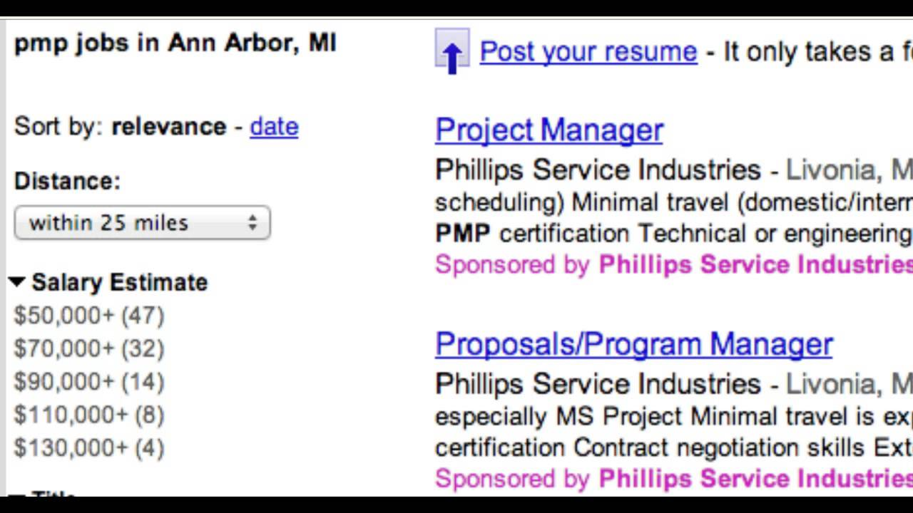 Pmp Job Prospects 2013 In And Around Ann Arbor Michigan Youtube
