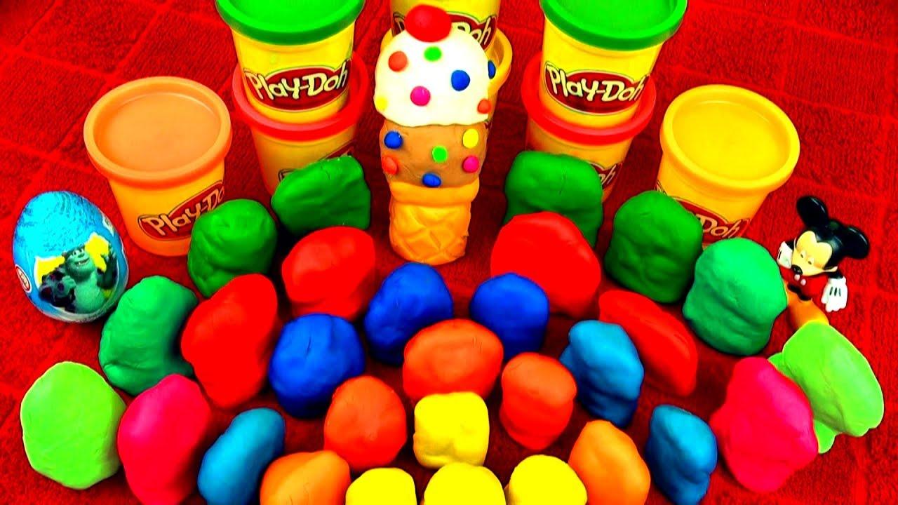 30 Surprise Eggs!! Play Doh Kinder Disney Cars Ice-Cream SpongeBob ...