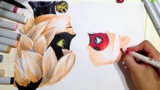 как нарисовать Леди Баг и Супер кот