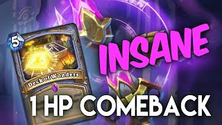 Insane comeback from 1 HP with Deck of Wonders and Yogg - Full game
