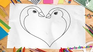 How to draw a Penguin Love Heart - Easy step-by-step drawing lessons for kids