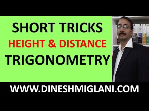 TRICKS & SHORTCUTS TO HEIGHT  AND DISTANCE TRIGONOMETRY FOR SSC CGL CHSL 2017