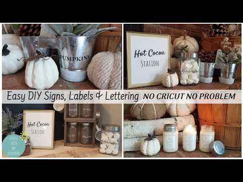 DIY SIGNS LABELS LETTERING  NO CRICUT | FALL COCOA BAR FARMHOUSE ANTIQUE CANDLE CO | TAPE TRANSFER