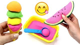 Learn Colors with Ice Cream & Learn How to Make Ice Cream with Play and Kinetic Sand Doh