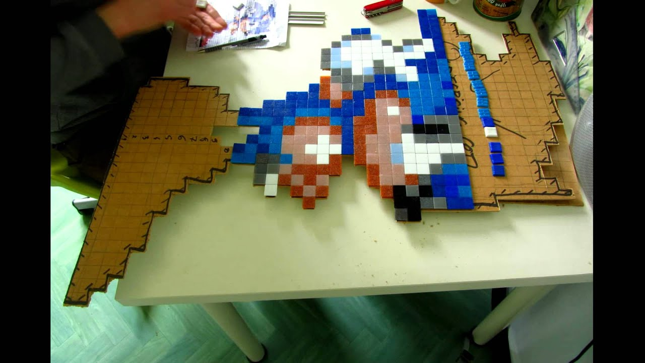 timelapse pixel art sonic mosaic mosaique tutorial youtube. Black Bedroom Furniture Sets. Home Design Ideas
