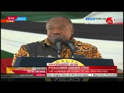 H.E President Ali Bongo of Gabon sends a statement to poachers at the Ivory Burning site in Nairobi
