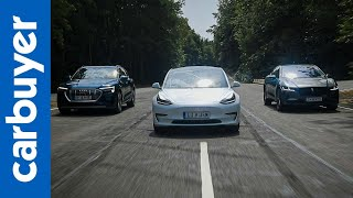 Tesla Model 3 vs Jaguar I-Pace SUV vs Audi e-tron SUV - Carbuyer