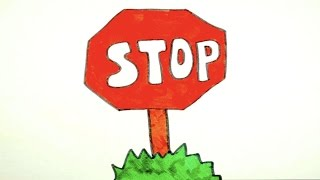 How To Draw A Stop Sign | Kids Coloring Video