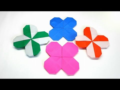 Origami Tutorial- How to fold an Easy Origami  Clover / Flower