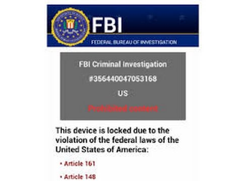 """F.B.I."" Ransom Virus Removal From An Android Phone 2016"