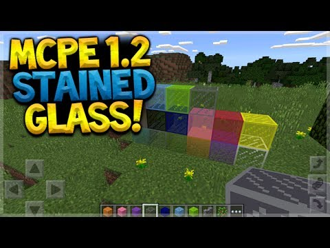 MCPE STAINED GLASS PREVIEW!! Minecraft Pocket Edition - 1.2 Update STAINED GLASS + BOOK & QUILL