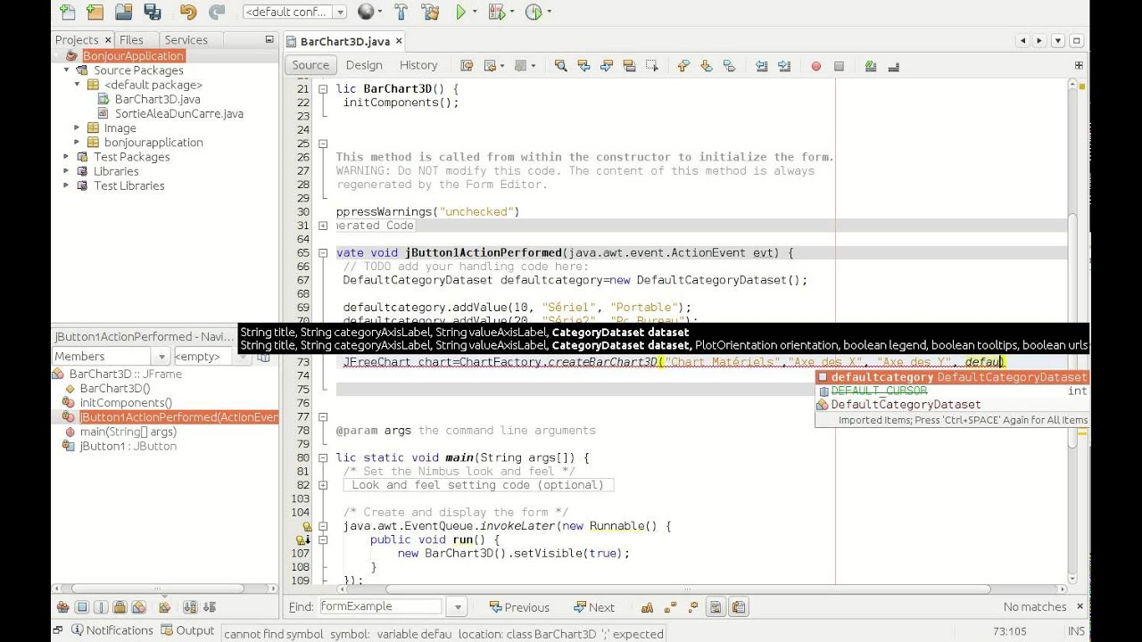 how to create bar chart in netbeans