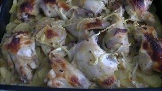 Курица в кефире на картофельной подушке