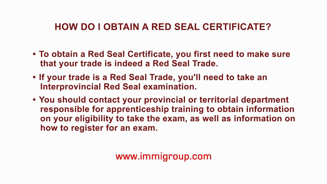 How do i obtain a red seal certificate youtube how do i obtain a red seal certificate 1betcityfo Images