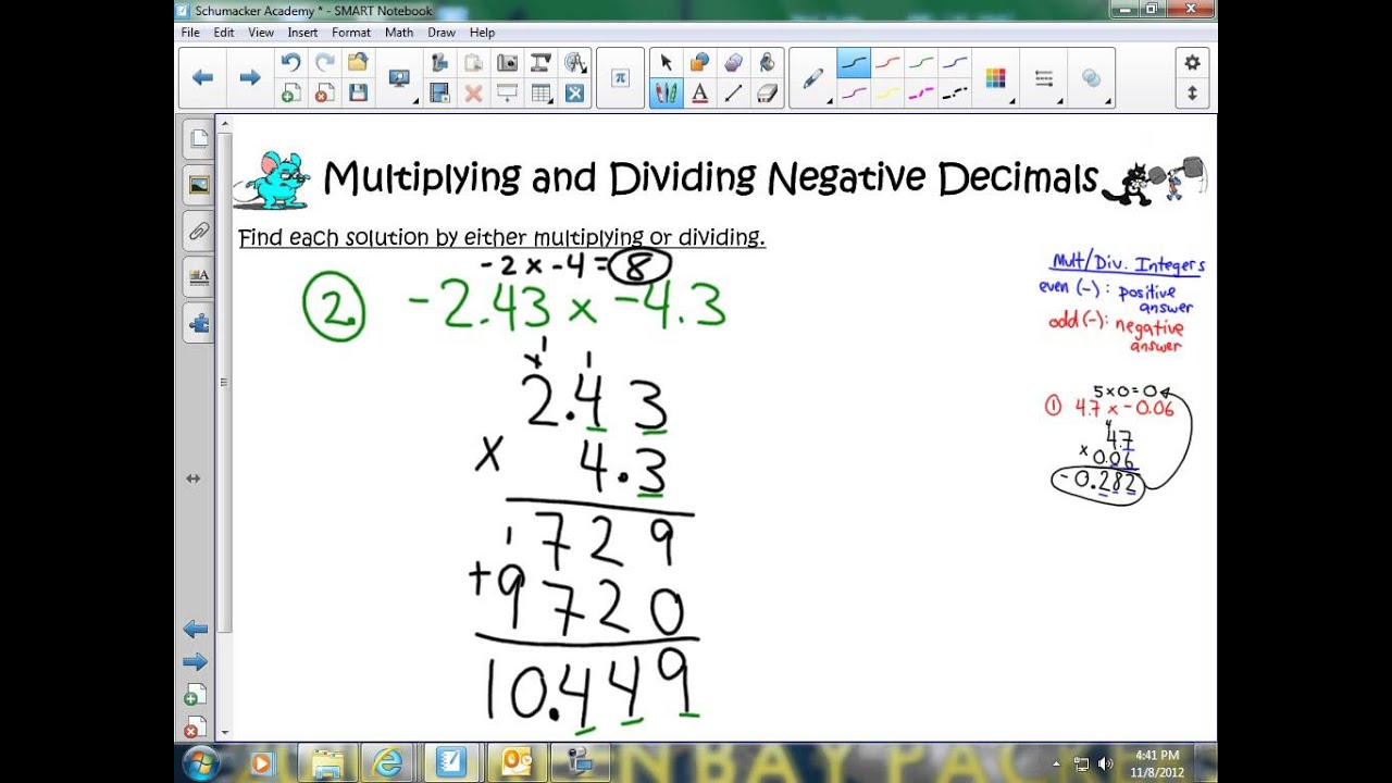 Worksheet Multiply Divide Decimals multiplying and dividing negative decimals youtube decimals