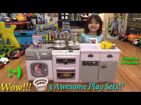 Toys for Little Girls: Awesome Kitchen and Cooking Pay Sets! Plus Washing Machine and Fridge!