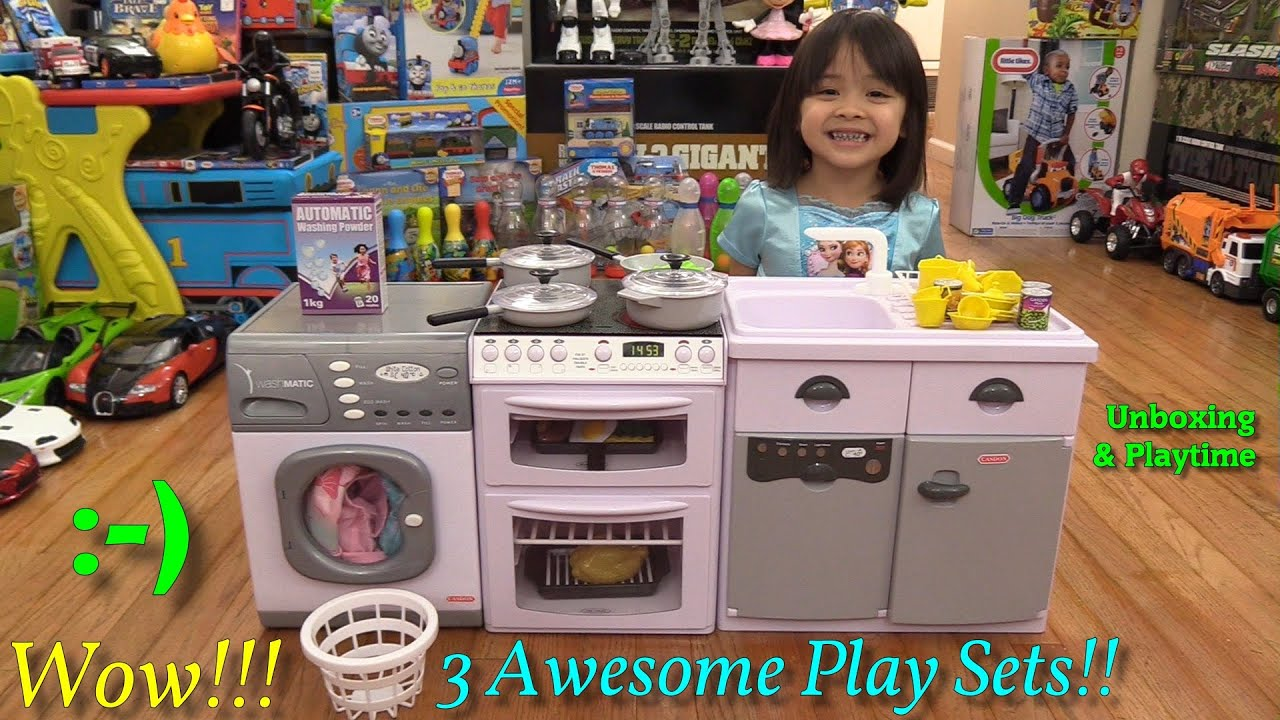 Toys for little girls kitchen playset laundry washing for Kitchen set for 7 year old