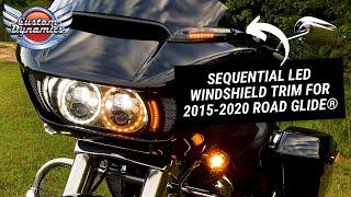 Custom Dynamics Sequential LED Windshield Trim for 2015-2021 Road Glide Black