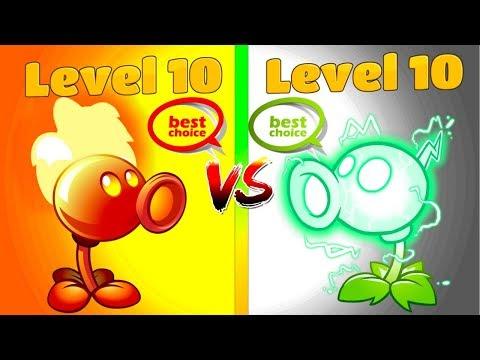 Plants vs Zombies 2 Premium Plants Electric Peashooter 10 vs Fire Peashooter 10 Levels PVZ 2
