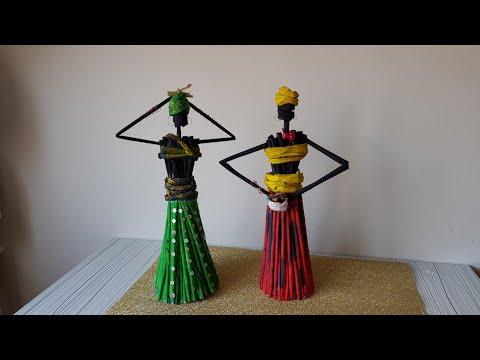 Gazete Kağıdından Afrikalı Kadin Nasıl Yapılır? DIY African Doll From Newspaper
