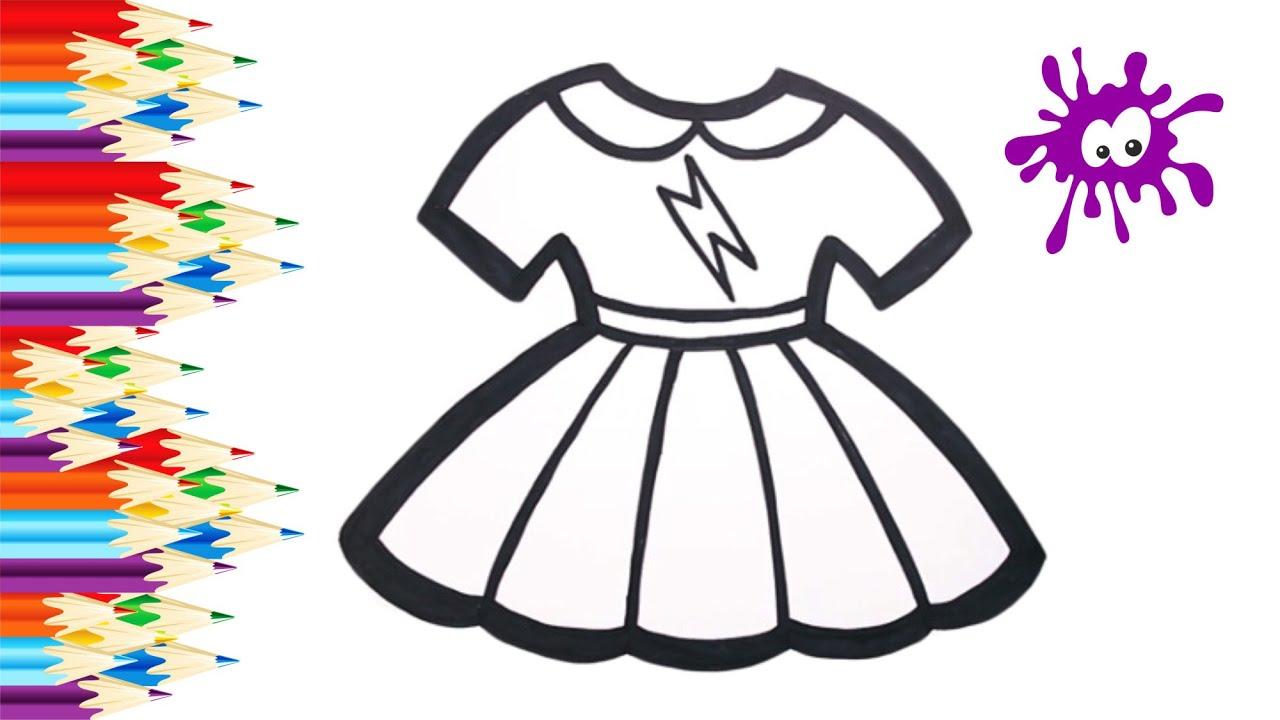 Рисуем и раскрашиваем радужное платье для куклы ...