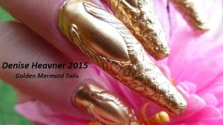 Nails in Motion -----Dancing Gold Mermaid Tails