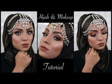 PARTY MAKEUP U0026 HIJAB STYLE + HEADPIECE TUTORIAL- WEDDING GUEST U0026 EID APPROPRIATE - YouTube