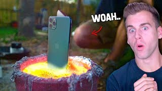 Guy DROPS IPHONE 11 In LAVA..Instantly Regrets It