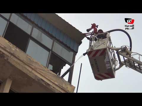 اللقطات الأولى لحريق مبني نقابة التجاريين برمسيس