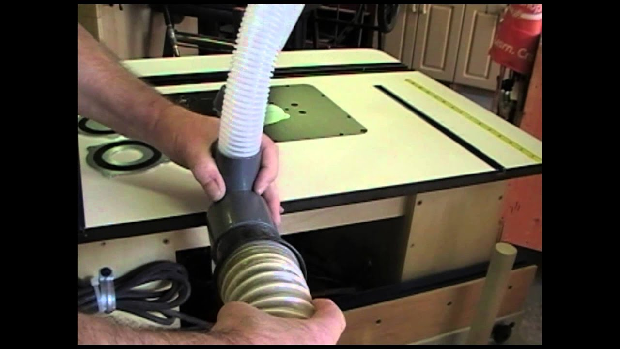 Router table dust collection canadian woodworking and home this guy has put together a couple of videos showing how to install it greentooth Image collections