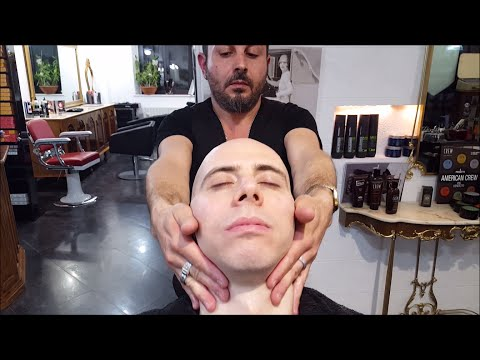 Italian Barber - Relaxing Face shave with Head Massage - ASMR sounds