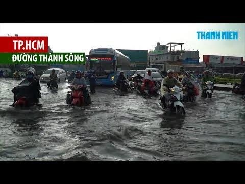 Mưa lớn kếp hợp triều cường gây ngập nước, kẹt xe kinh hoàng ở phía tây TP.HCM