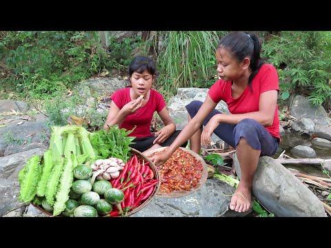 Food yummy Mouth Watering: Vegetables Food Mixed vs Salt Hot Chili Garlic - My Natural Food ep 32