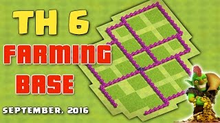 Clash Of Clans - Town Hall 6 (TH6) Farming Base 'September 2016' ♦ Save Gold and Elixir