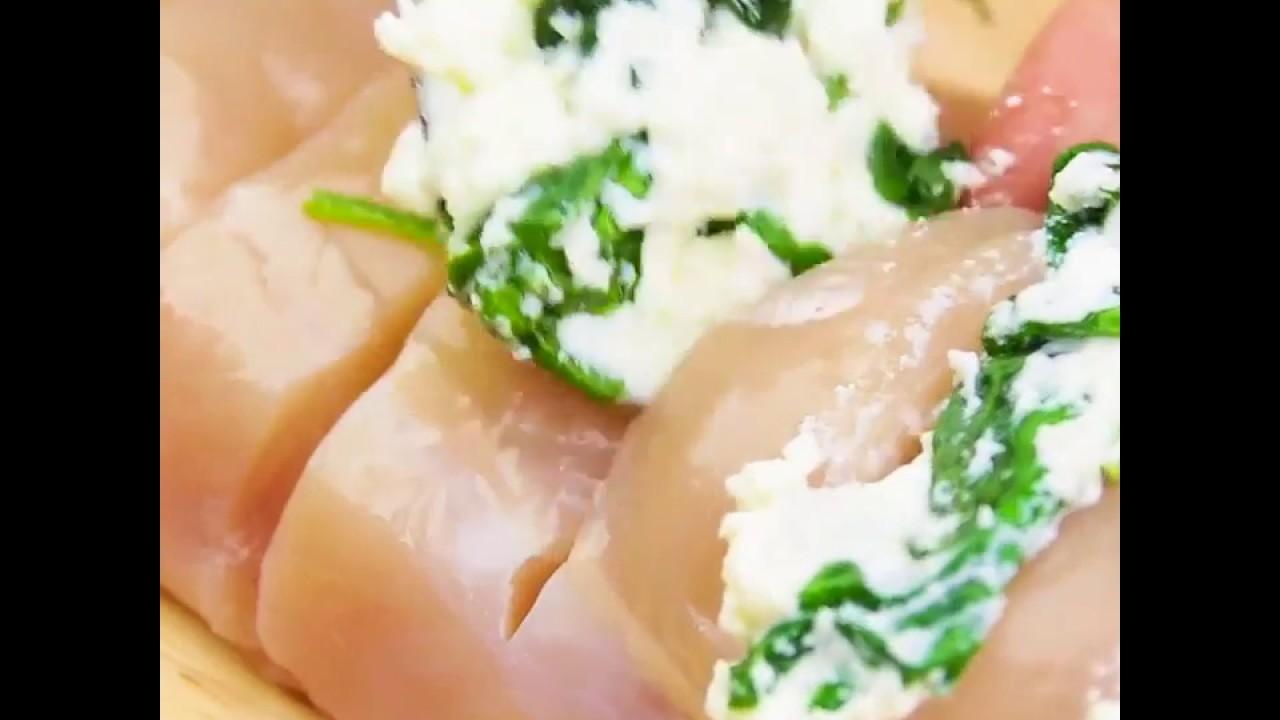 Куриная грудка с рикоттой и шпинатом видео 4