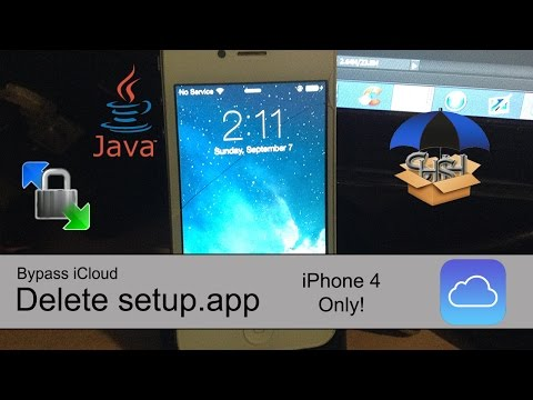 Bypass iCloud: iPhone 4 - Delete Setup.app: This method will bypass the entire setup process on your iPhone 4. So if you don't have the right SIM card, if you are iCloud locked, etc. Works on any A4 device.  Cons include: Reduced battery life (searching for activation tickets in background) NO SERVICE (no activation tickets from albert)  But at least you can use it as an iPod instead of a paperweight.  Link to download files: http://www.mediafire.com/download/0xsxn9jsuibdd16/Bypass+iCloud+iPhone+4.rar   WinSCP Login Details Username: root Password: alpine  If this video helped you, please leave a like below. If you need help, leave a comment. Don't forget to subscribe.     Disclaimer: This video is for educational purposes only. Proceed at your own risk.