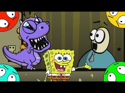 🐾 Динозавр призрак и Губка Боб пугают людей. Мультик игра для детей. Новый мультфильм