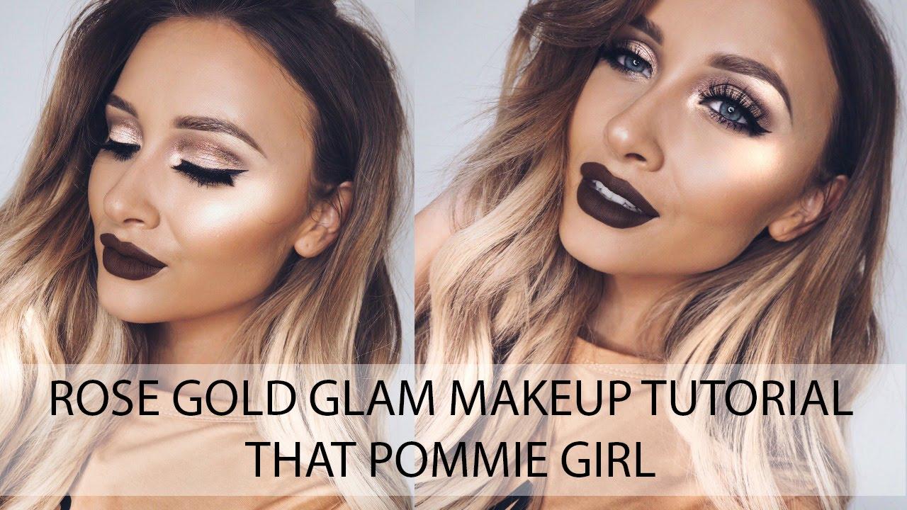Rose Gold Glam Makeup Tutorial Using Kylie Lip Kit in 'True Brown' | That Pommie Girl - YouTube