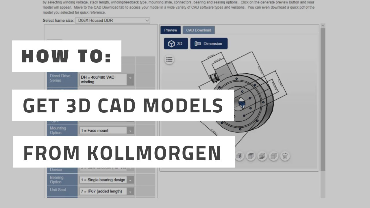 Kollmorgen: How to Find and Download a 3D CAD Model in Your Native CAD