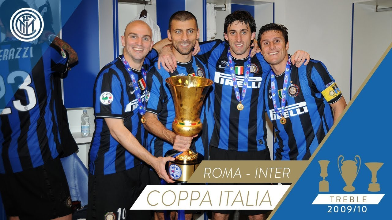 Celebratory scenes as Inter won the 2009/10 Coppa Italia - YouTube
