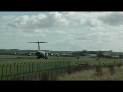 USAF C17 and USAF C130 amongst others at a busy Prestwick Airport