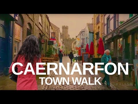 CAERNARFON WALES WALKING TOUR - Castle & Town In Winter
